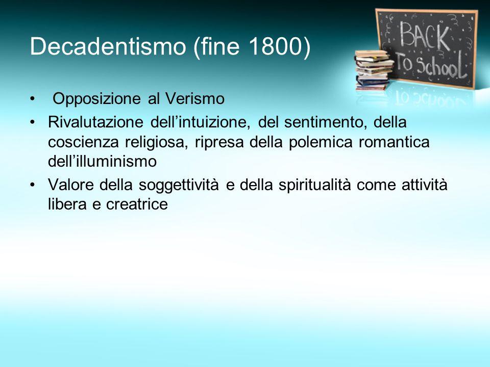Decadentismo (fine 1800) Opposizione al Verismo