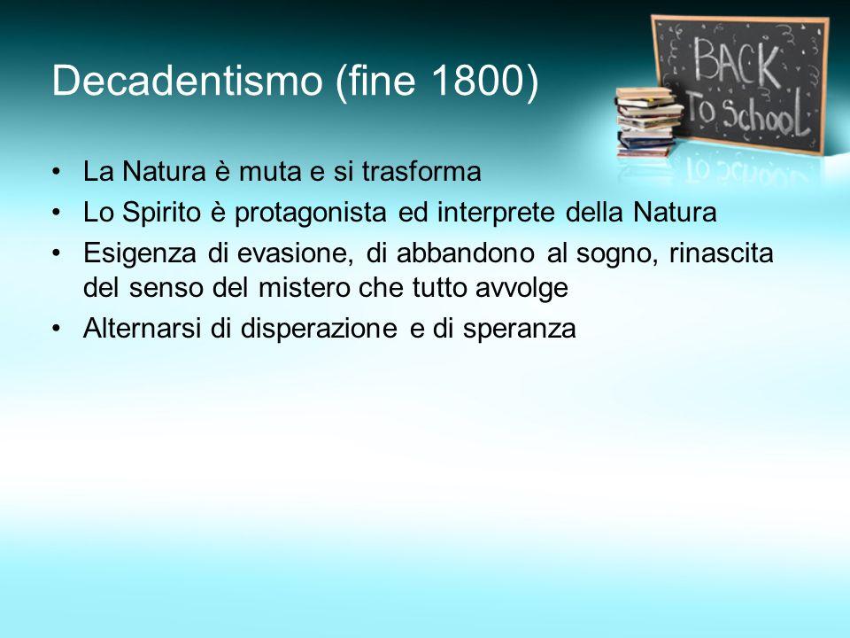 Decadentismo (fine 1800) La Natura è muta e si trasforma