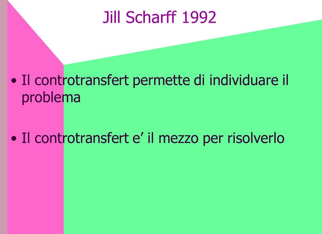 Jill Scharff 1992 Il controtransfert permette di individuare il problema.