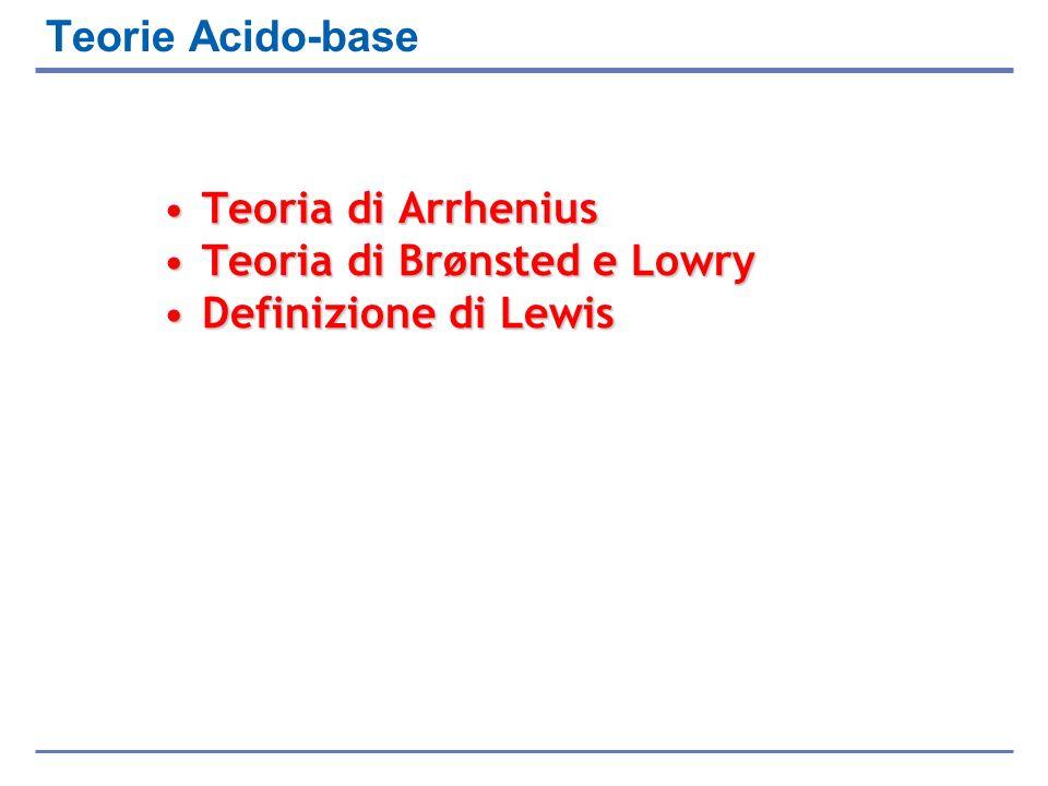 Teorie Acido-base Teoria di Arrhenius Teoria di Brønsted e Lowry Definizione di Lewis