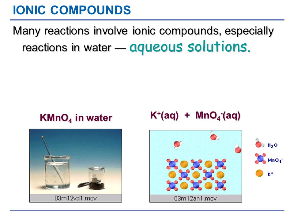 IONIC COMPOUNDS Many reactions involve ionic compounds, especially reactions in water — aqueous solutions.