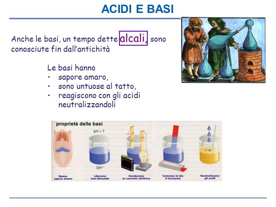 ACIDI E BASI Anche le basi, un tempo dette alcali, sono conosciute fin dall'antichità. Le basi hanno.