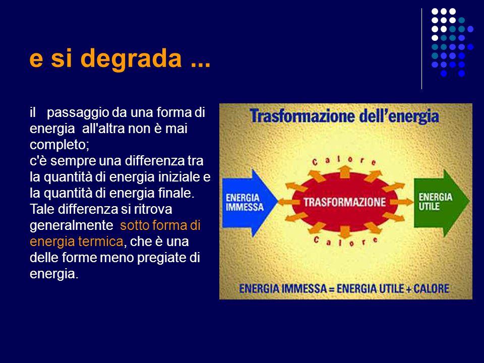 e si degrada ... il passaggio da una forma di energia all altra non è mai completo;