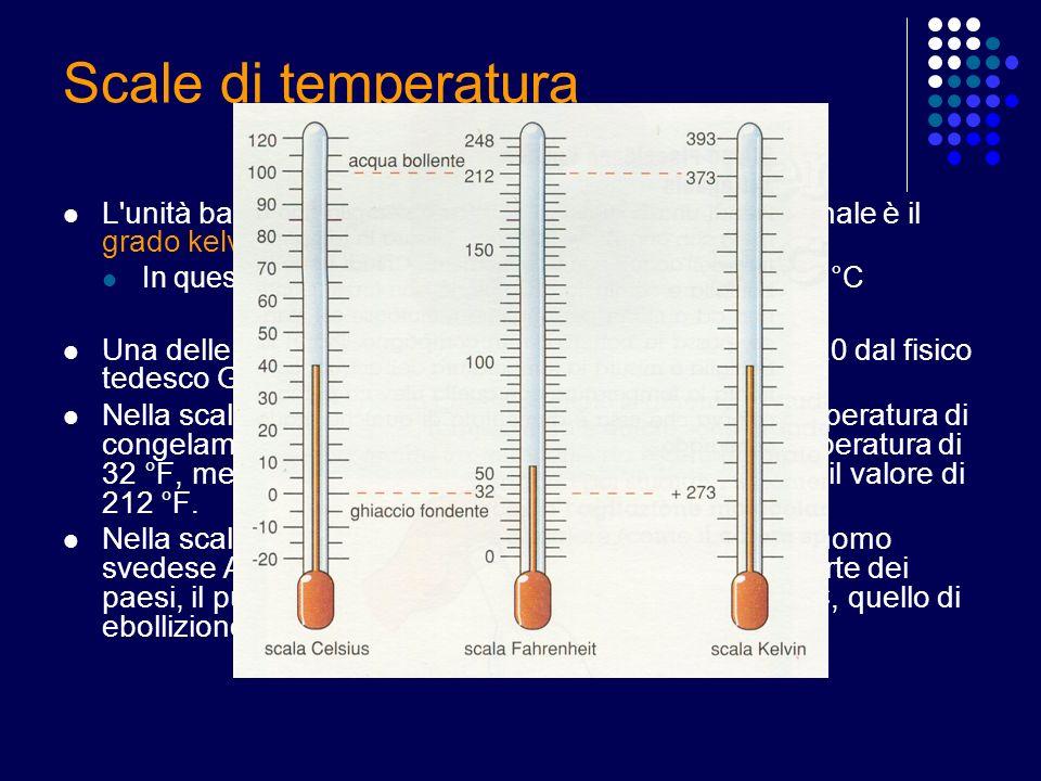 Scale di temperatura L unità base della temperatura nel Sistema Internazionale è il grado kelvin (simbolo: K)