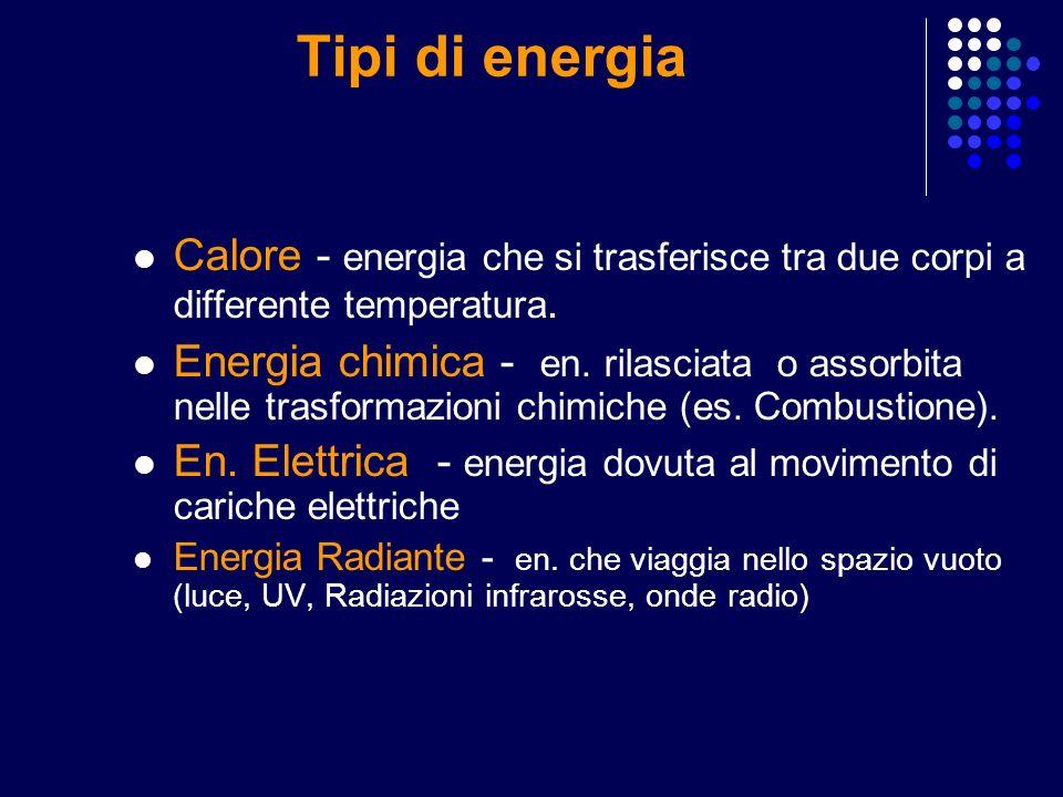Tipi di energia Calore - energia che si trasferisce tra due corpi a differente temperatura.