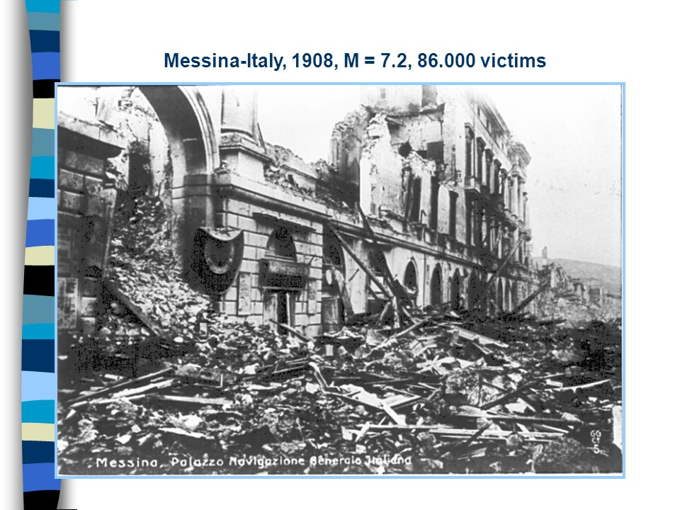 Messina-Italy, 1908, M = 7.2, 86.000 victims
