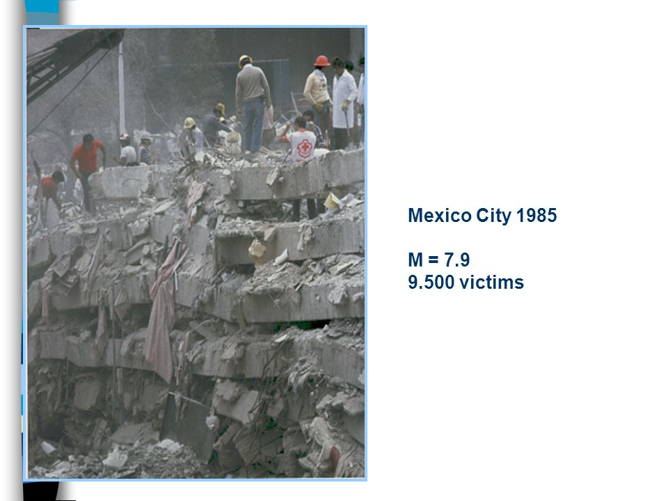 Mexico City 1985 M = 7.9 9.500 victims