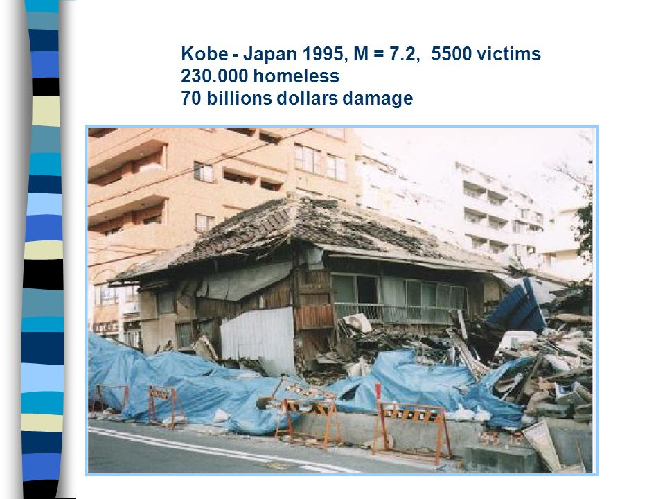 Kobe - Japan 1995, M = 7.2, 5500 victims 230.000 homeless 70 billions dollars damage
