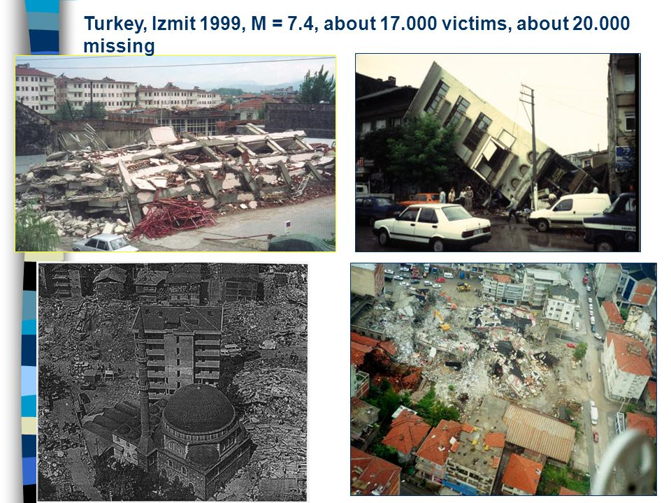 Turkey, Izmit 1999, M = 7. 4, about 17. 000 victims, about 20
