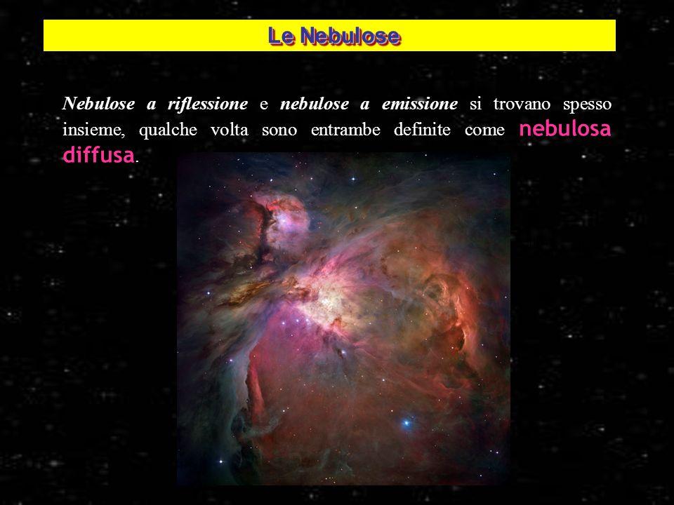 Le Nebulose Nebulose a riflessione e nebulose a emissione si trovano spesso insieme, qualche volta sono entrambe definite come nebulosa diffusa.