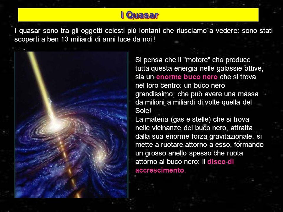 I Quasar I quasar sono tra gli oggetti celesti più lontani che riusciamo a vedere: sono stati scoperti a ben 13 miliardi di anni luce da noi !
