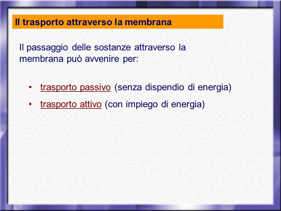 Il trasporto attraverso la membrana