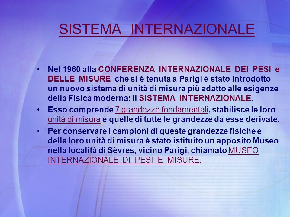 SISTEMA INTERNAZIONALE