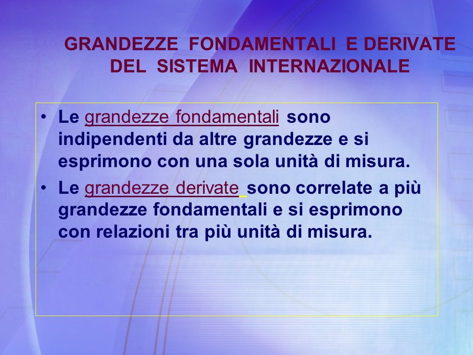 GRANDEZZE FONDAMENTALI E DERIVATE DEL SISTEMA INTERNAZIONALE