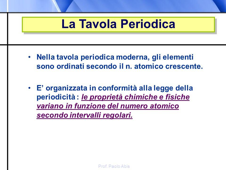 La Tavola Periodica Nella tavola periodica moderna, gli elementi sono ordinati secondo il n. atomico crescente.