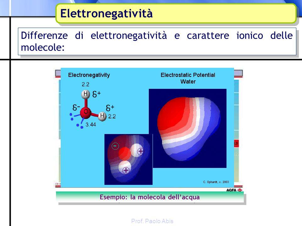 Differenze di elettronegatività e carattere ionico delle molecole: