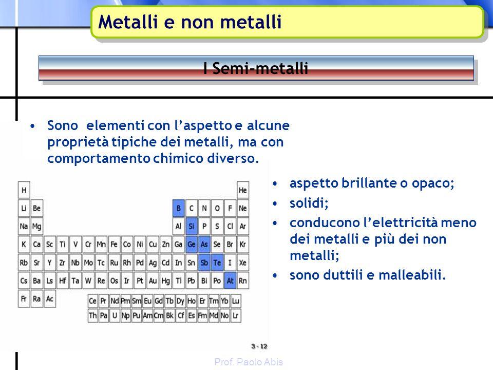 Metalli e non metalli I Semi-metalli