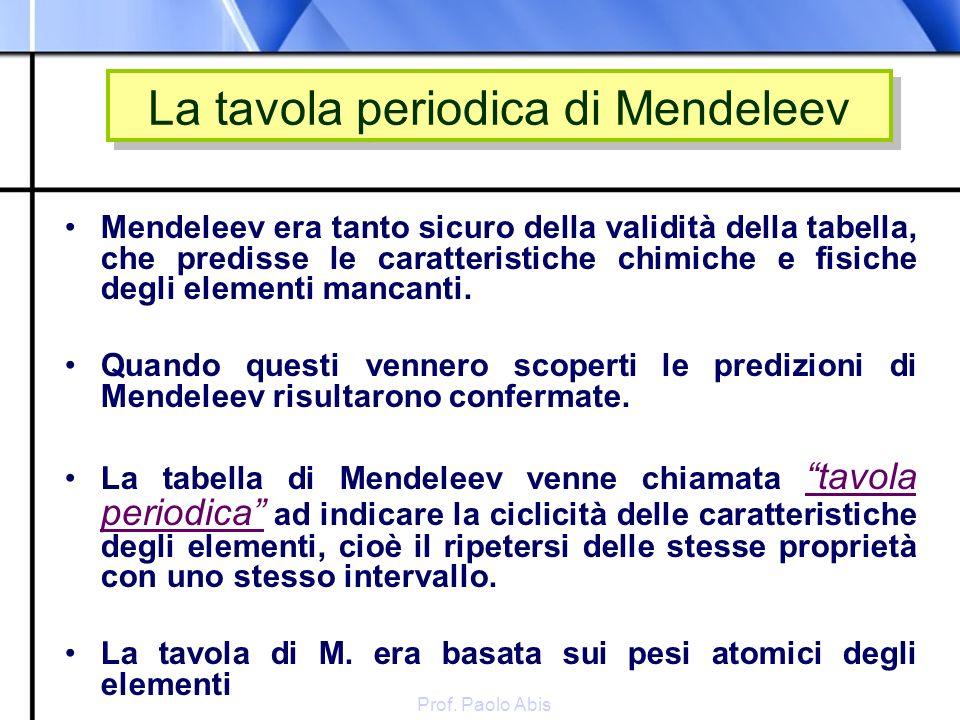 La tavola periodica di Mendeleev