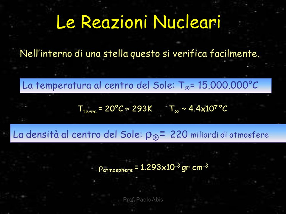 Le Reazioni Nucleari Nell'interno di una stella questo si verifica facilmente. La temperatura al centro del Sole: T= 15.000.000°C.