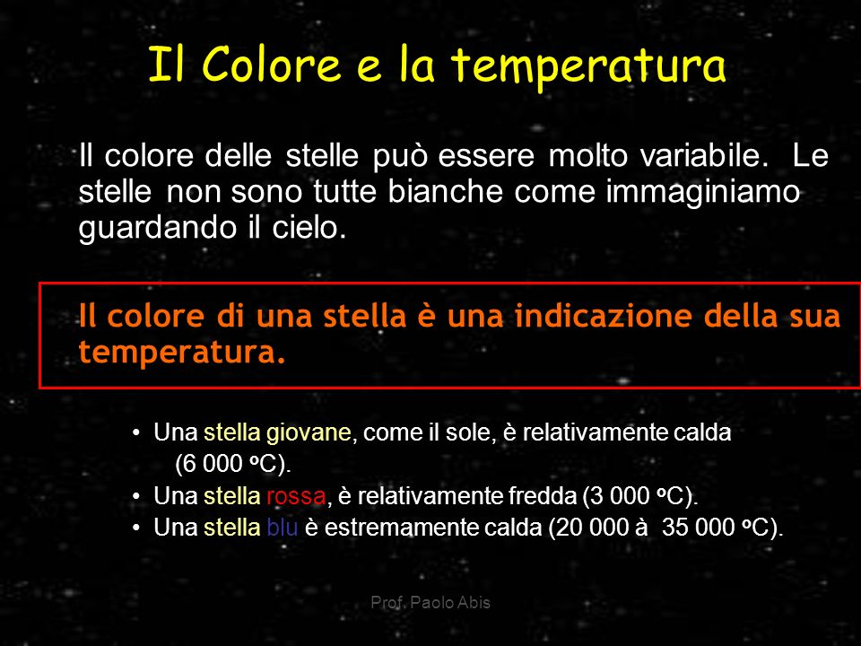 Il Colore e la temperatura