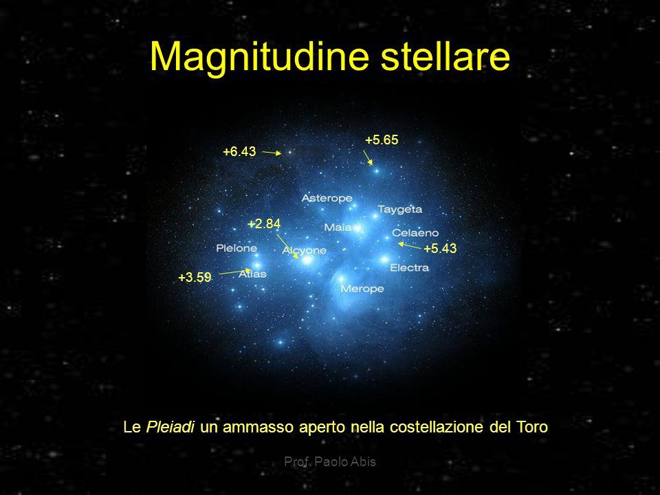Magnitudine stellare +6.43. +5.65. +5.43. +2.84. +3.59. Le Pleiadi un ammasso aperto nella costellazione del Toro.
