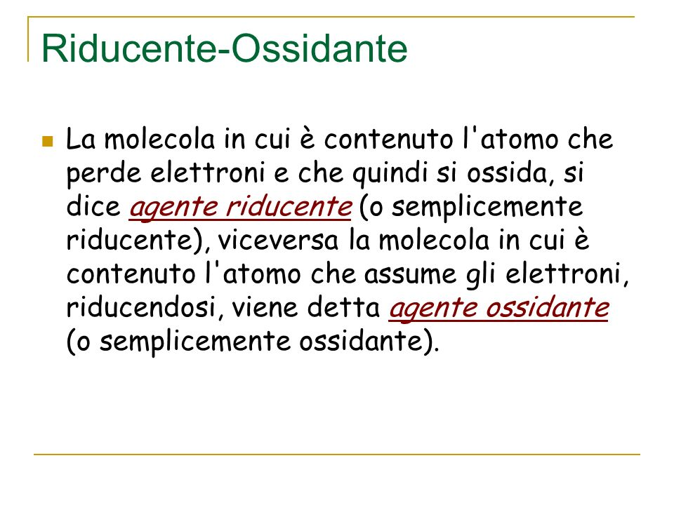 Riducente-Ossidante