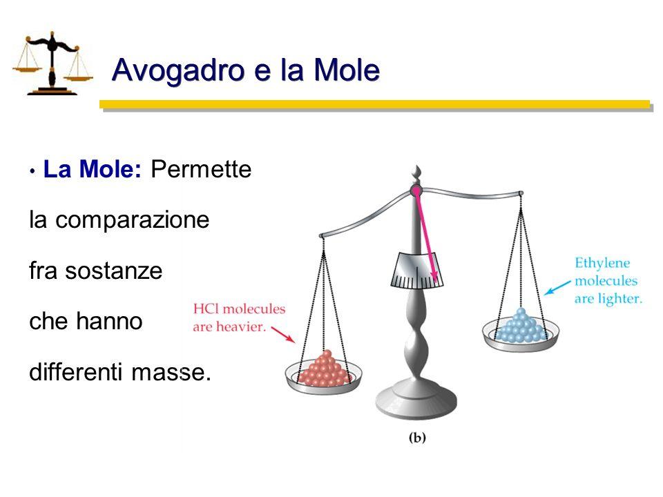 Avogadro e la Mole La Mole: Permette la comparazione fra sostanze