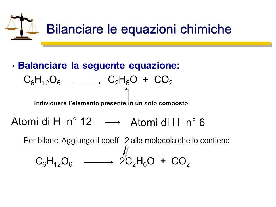 Bilanciare le equazioni chimiche
