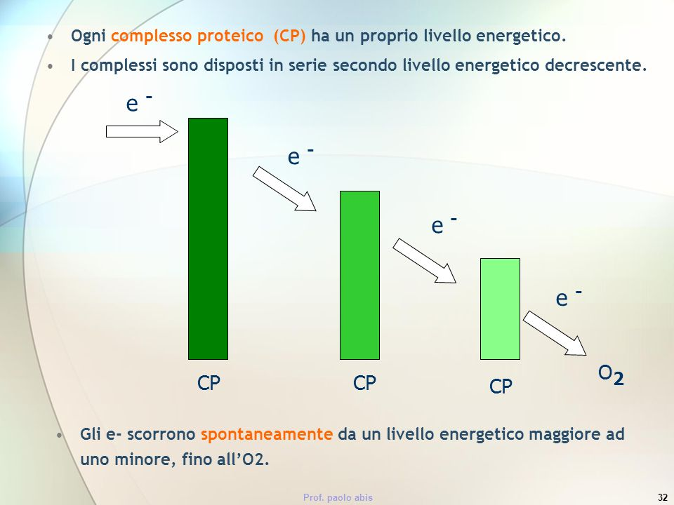 Ogni complesso proteico (CP) ha un proprio livello energetico.