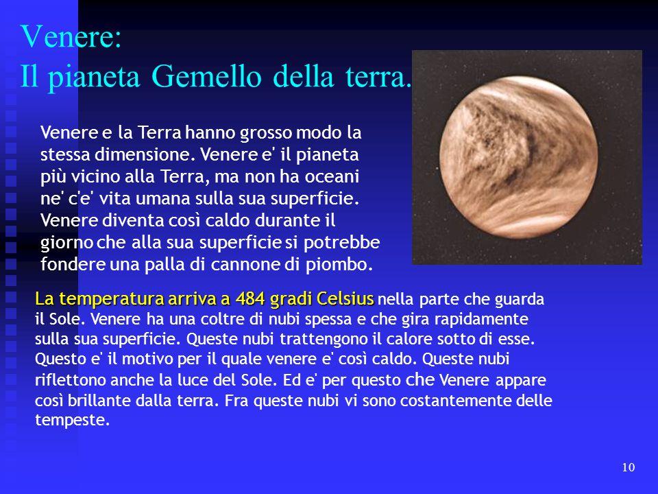 Venere: Il pianeta Gemello della terra.