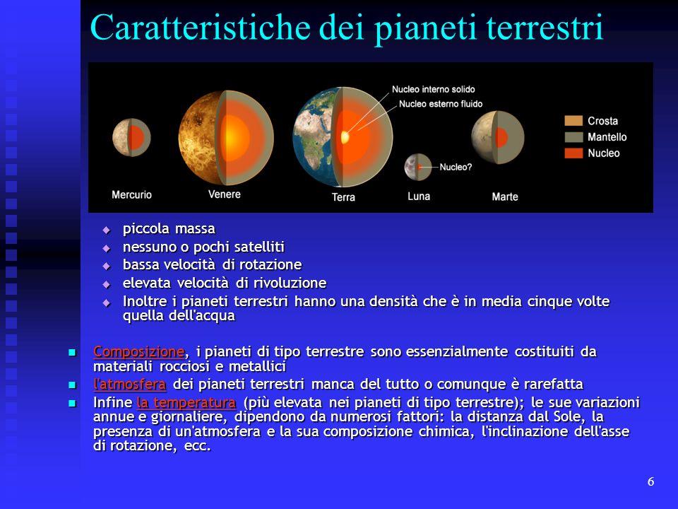 Caratteristiche dei pianeti terrestri