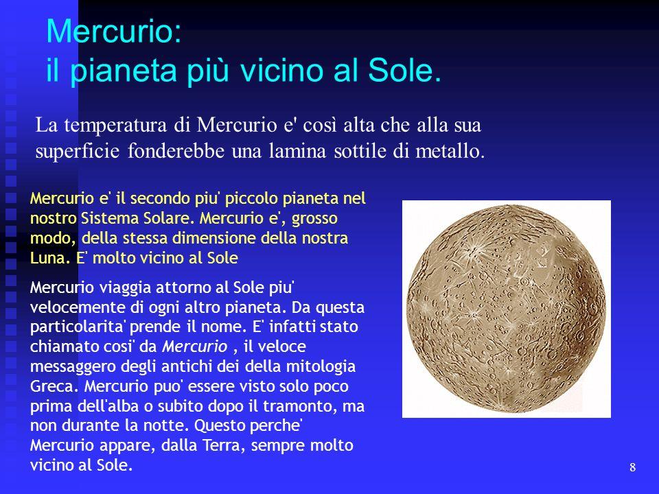 Mercurio: il pianeta più vicino al Sole.