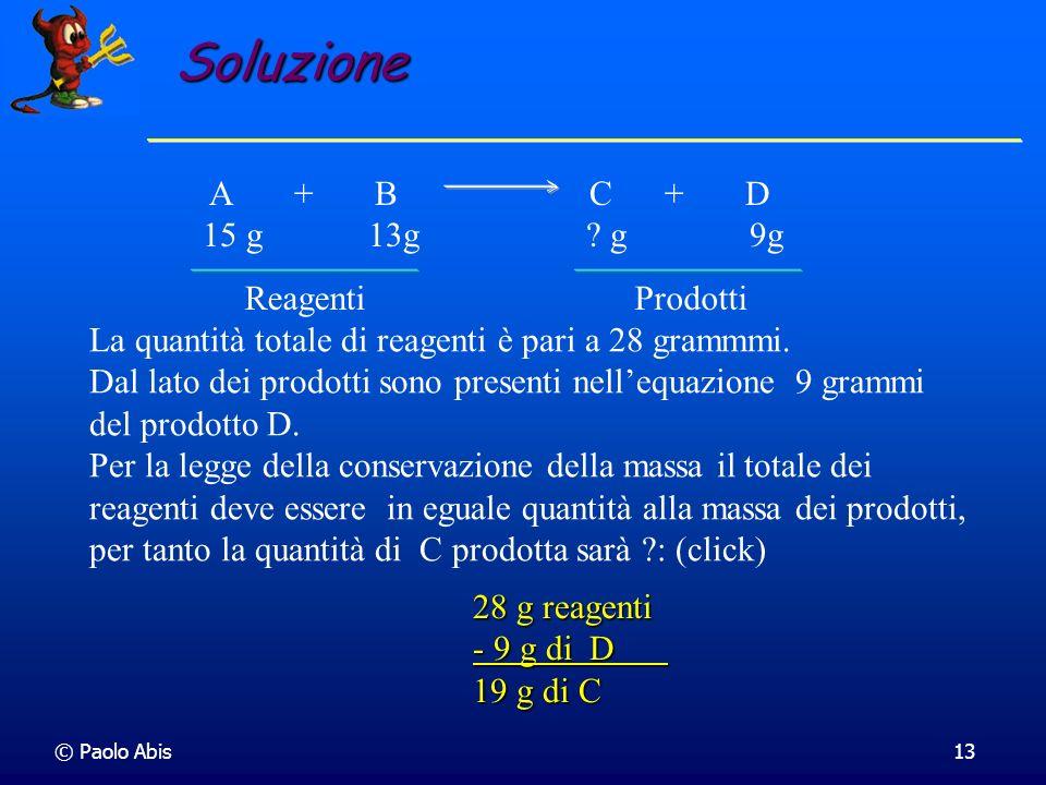 Soluzione Reagenti Prodotti A + B C + D 15 g 13g g 9g