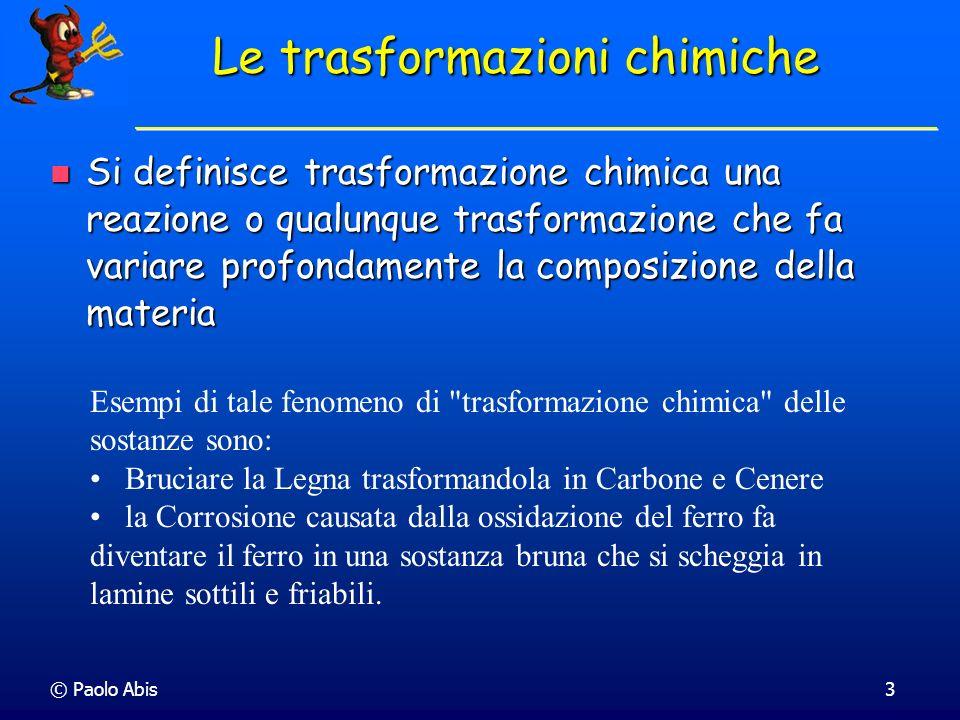 Le trasformazioni chimiche