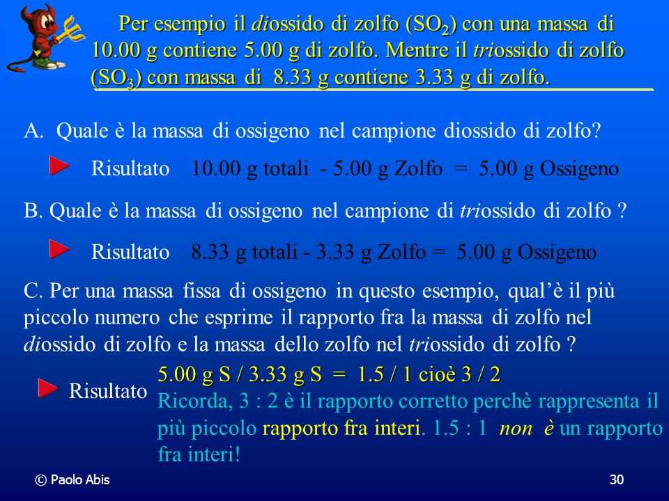 A. Quale è la massa di ossigeno nel campione diossido di zolfo