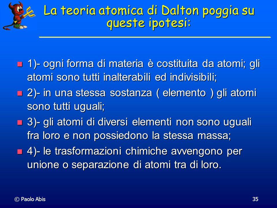 La teoria atomica di Dalton poggia su queste ipotesi: