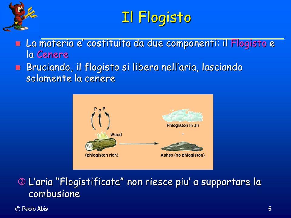 Il Flogisto La materia e' costituita da due componenti: il Flogisto e la Cenere.