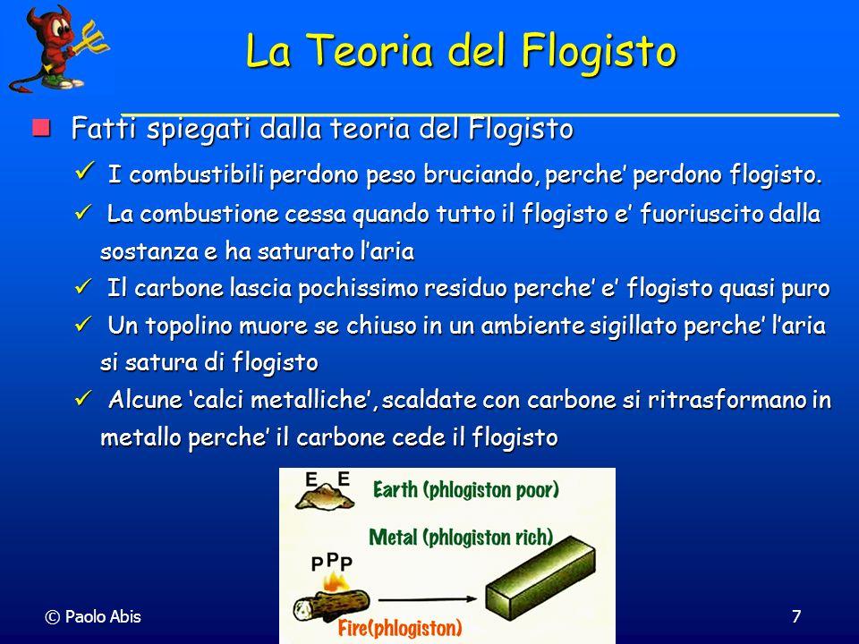 La Teoria del Flogisto Fatti spiegati dalla teoria del Flogisto