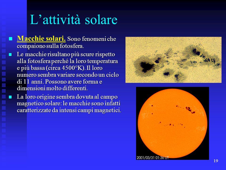 L'attività solare Macchie solari. Sono fenomeni che compaiono sulla fotosfera.