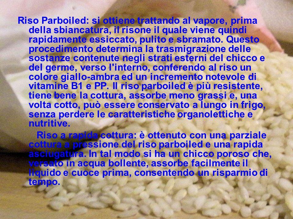 Riso Parboiled: si ottiene trattando al vapore, prima della sbiancatura, il risone il quale viene quindi rapidamente essiccato, pulito e sbramato. Questo procedimento determina la trasmigrazione delle sostanze contenute negli strati esterni del chicco e del germe, verso l interno, conferendo al riso un colore giallo-ambra ed un incremento notevole di vitamine B1 e PP. Il riso parboiled è più resistente, tiene bene la cottura, assorbe meno grassi e, una volta cotto, può essere conservato a lungo in frigo, senza perdere le caratteristiche organolettiche e nutritive.
