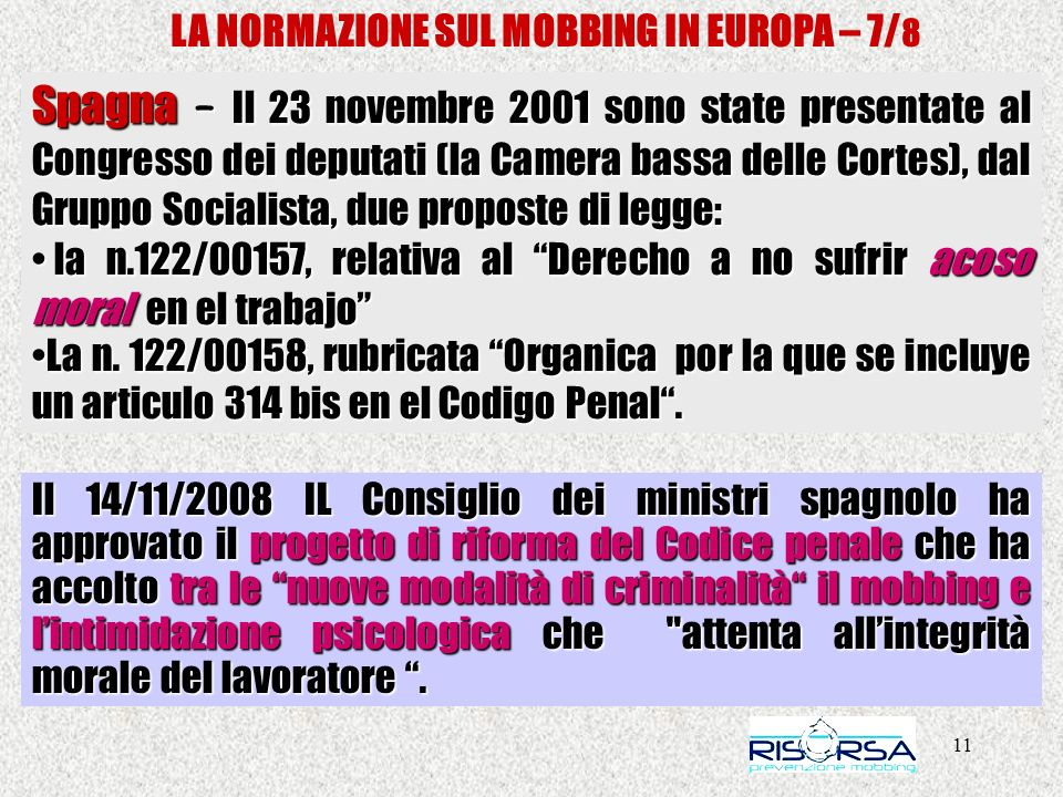 LA NORMAZIONE SUL MOBBING IN EUROPA – 7/8