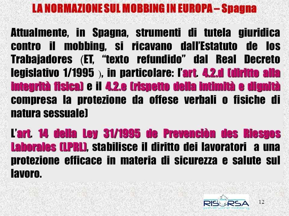 LA NORMAZIONE SUL MOBBING IN EUROPA – Spagna