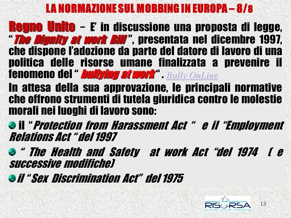 LA NORMAZIONE SUL MOBBING IN EUROPA – 8/8