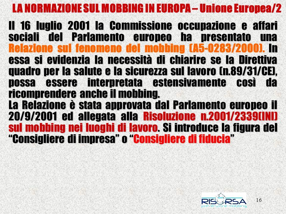 LA NORMAZIONE SUL MOBBING IN EUROPA – Unione Europea/2