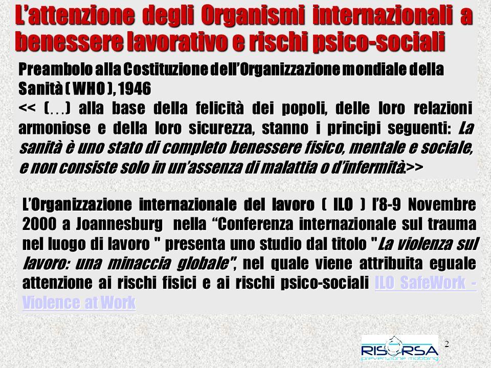 L'attenzione degli Organismi internazionali a benessere lavorativo e rischi psico-sociali