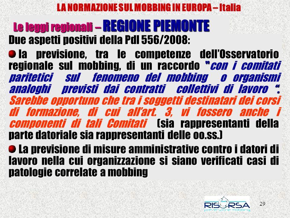 LA NORMAZIONE SUL MOBBING IN EUROPA – Italia