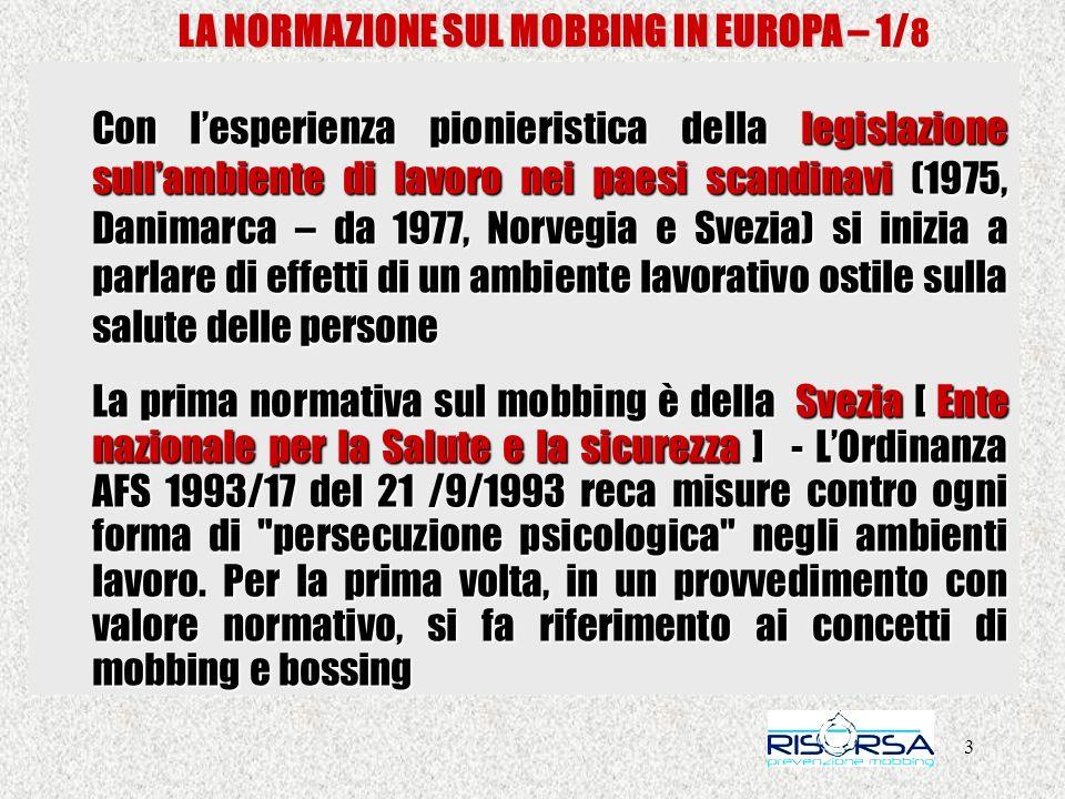 LA NORMAZIONE SUL MOBBING IN EUROPA – 1/8