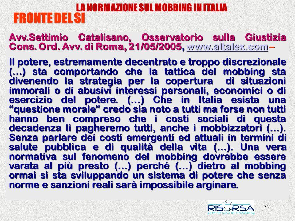 LA NORMAZIONE SUL MOBBING IN ITALIA
