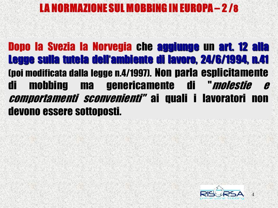 LA NORMAZIONE SUL MOBBING IN EUROPA – 2 /8