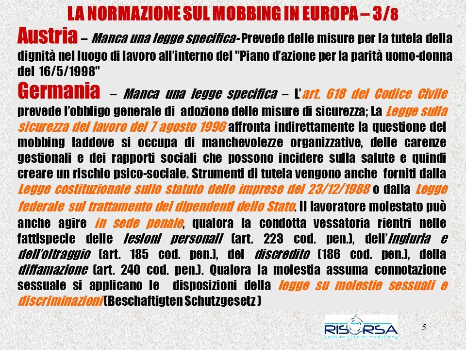 LA NORMAZIONE SUL MOBBING IN EUROPA – 3/8